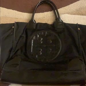Large patent leather tory burch tote bag